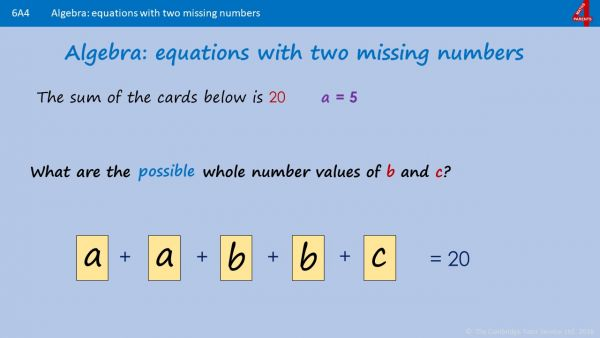 A4/5 - Find pairs of numbers to satisfy an equation