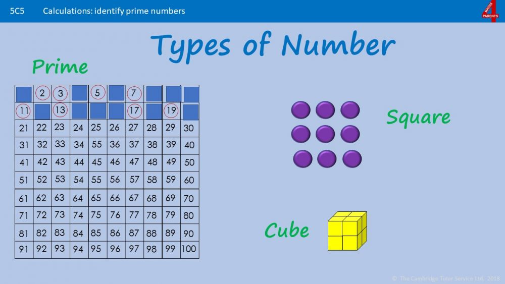 Factors, Multiples, Primes, Square and Cube Numbers